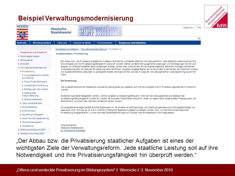 Beispiel Verwaltungsmodernisierung