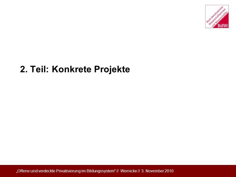 2. Teil: Konkrete Projekte