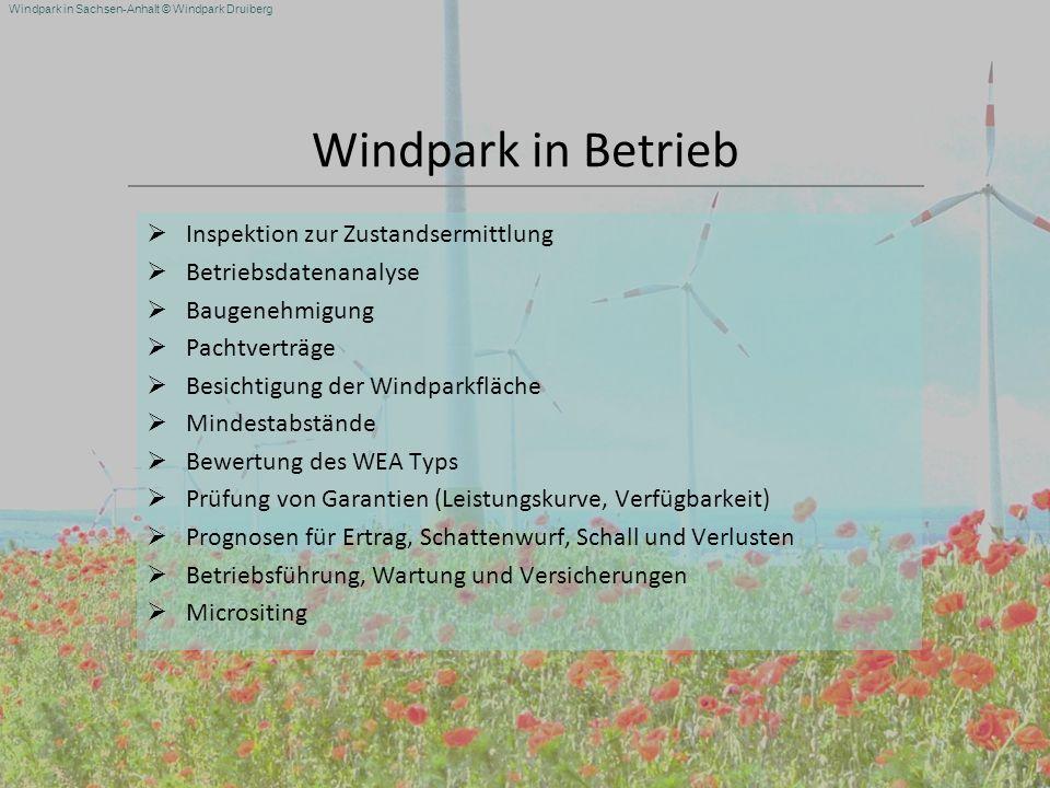 Windpark in Betrieb Inspektion zur Zustandsermittlung