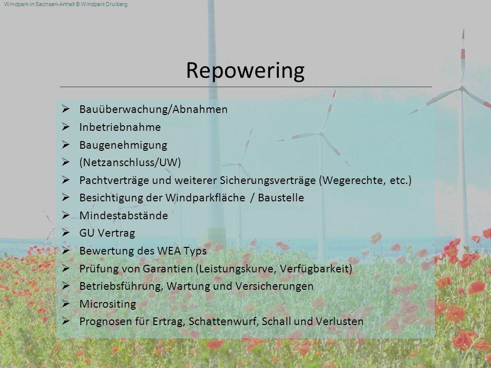 Repowering Bauüberwachung/Abnahmen Inbetriebnahme Baugenehmigung