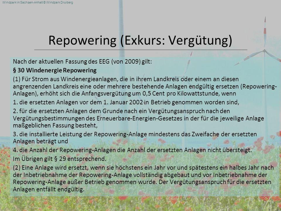 Repowering (Exkurs: Vergütung)