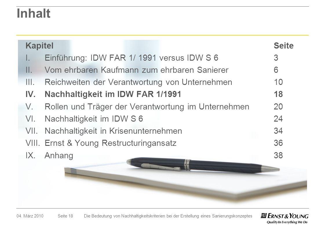 Inhalt Kapitel Seite I. Einführung: IDW FAR 1/ 1991 versus IDW S 6 3