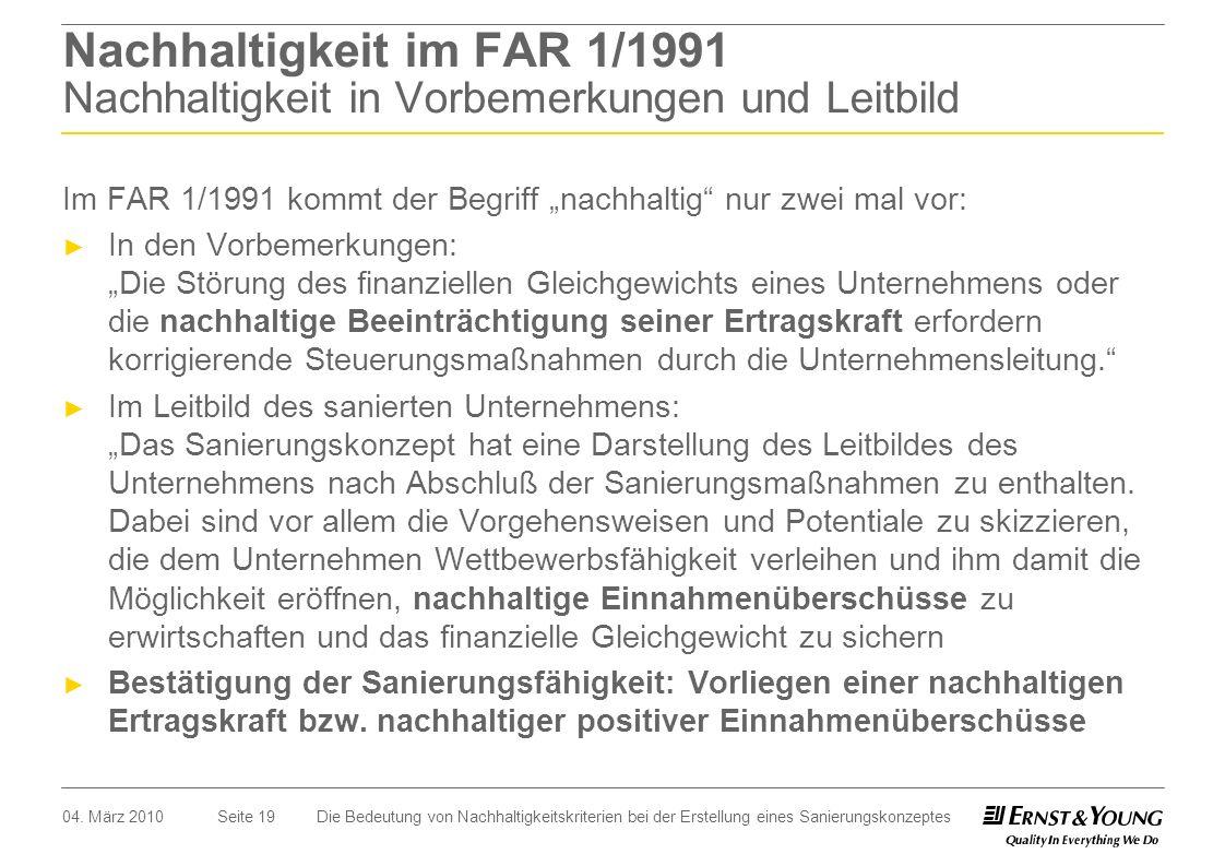 Nachhaltigkeit im FAR 1/1991 Nachhaltigkeit in Vorbemerkungen und Leitbild