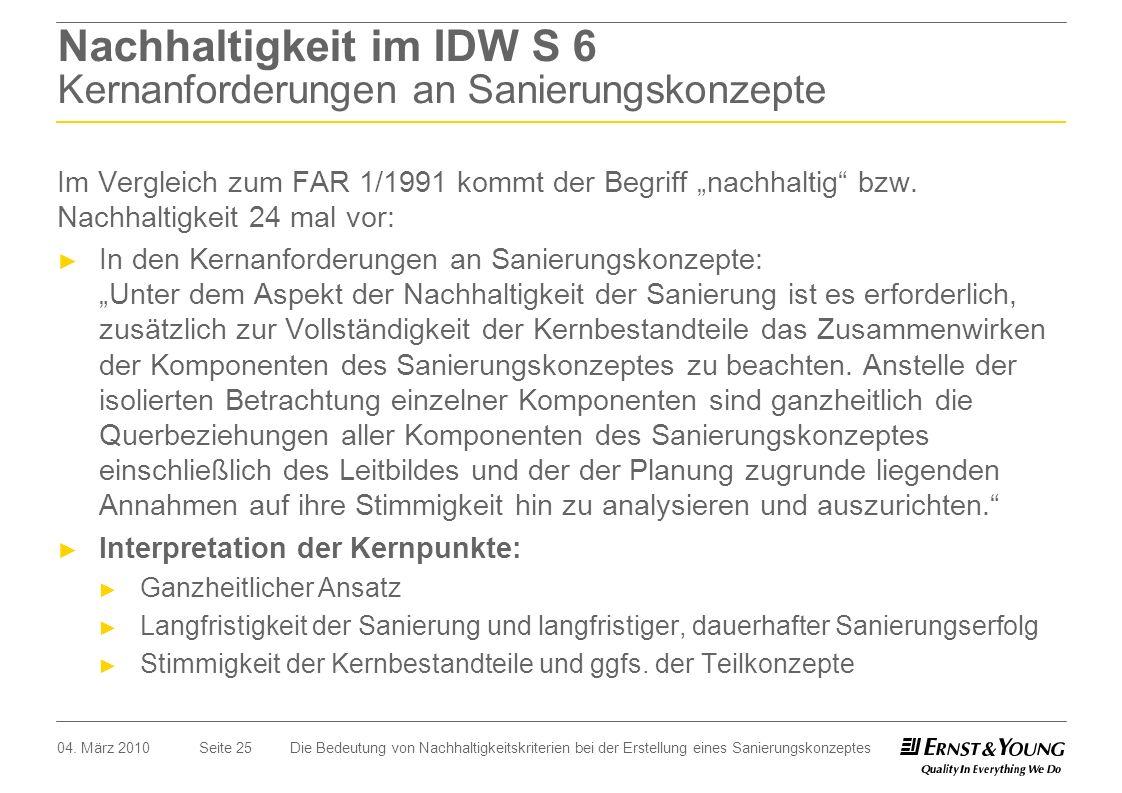 Nachhaltigkeit im IDW S 6 Kernanforderungen an Sanierungskonzepte