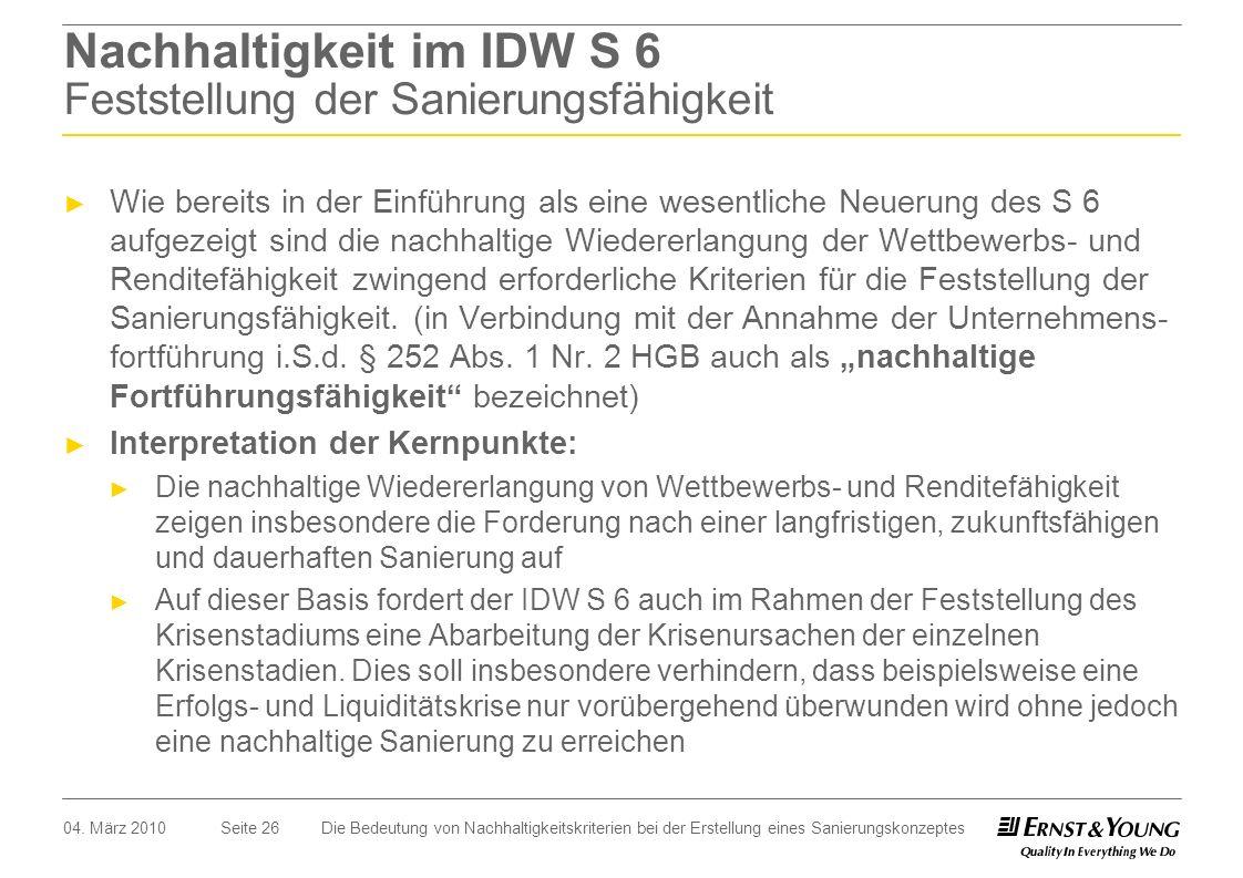 Nachhaltigkeit im IDW S 6 Feststellung der Sanierungsfähigkeit