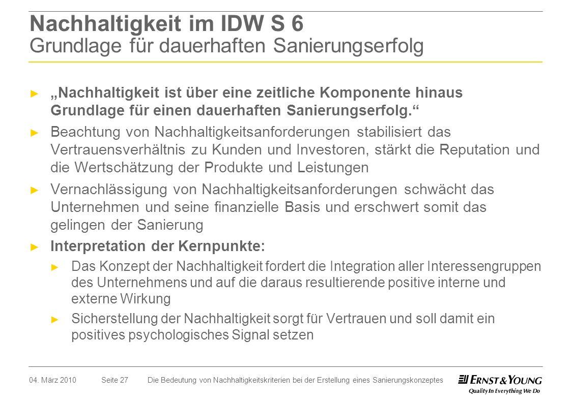 Nachhaltigkeit im IDW S 6 Grundlage für dauerhaften Sanierungserfolg