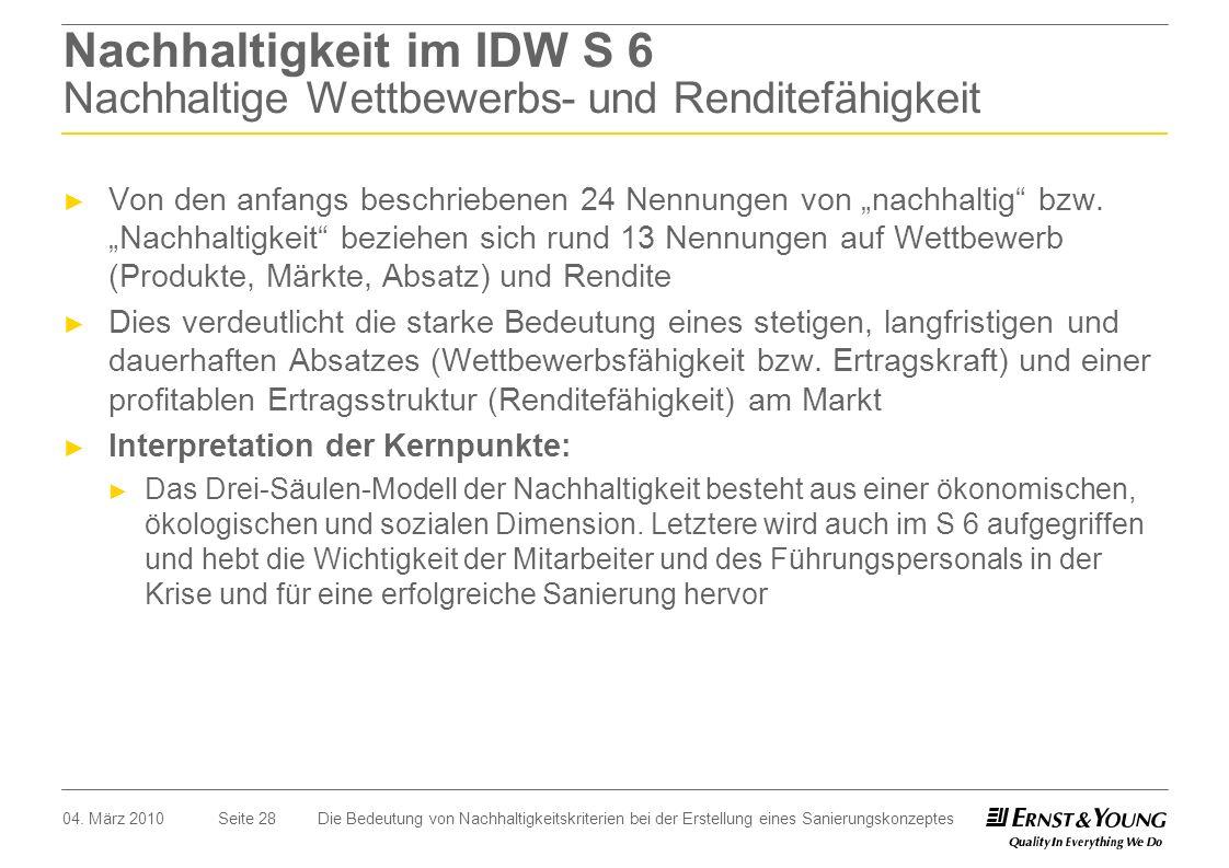 Nachhaltigkeit im IDW S 6 Nachhaltige Wettbewerbs- und Renditefähigkeit