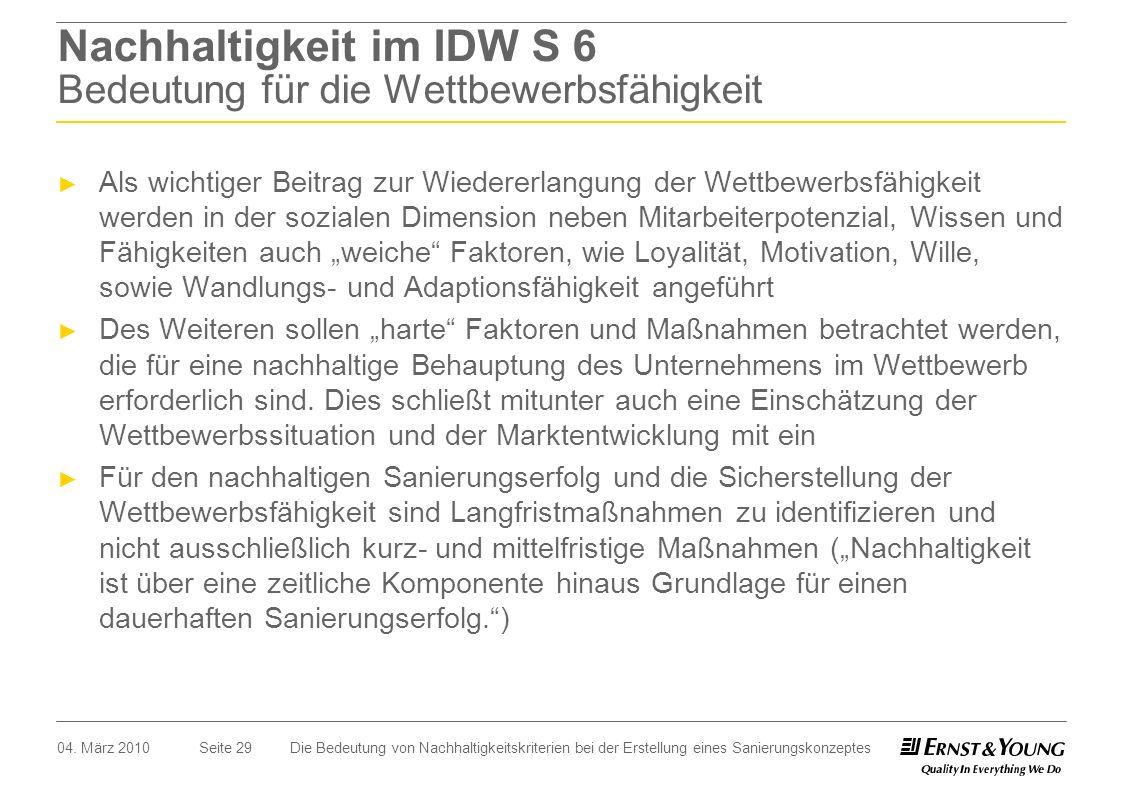 Nachhaltigkeit im IDW S 6 Bedeutung für die Wettbewerbsfähigkeit