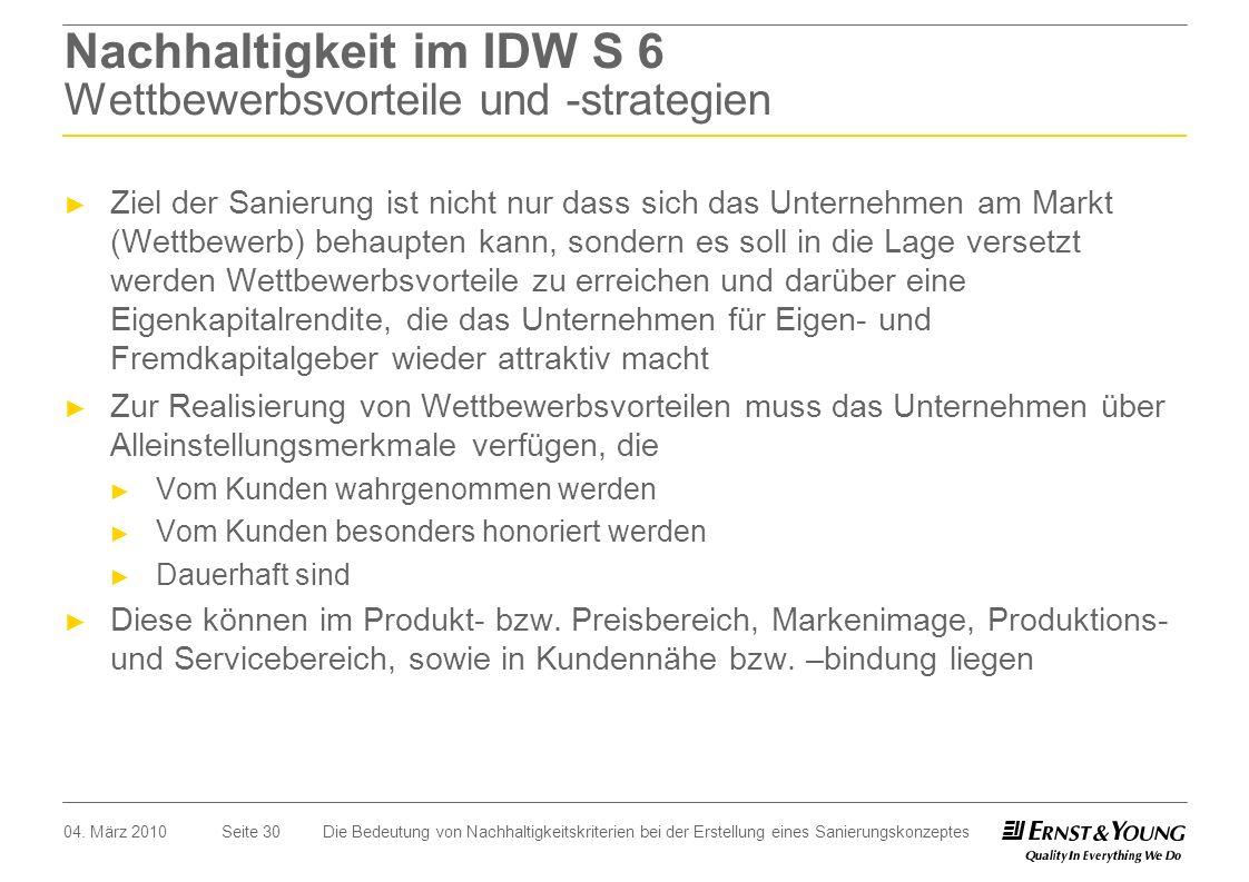 Nachhaltigkeit im IDW S 6 Wettbewerbsvorteile und -strategien