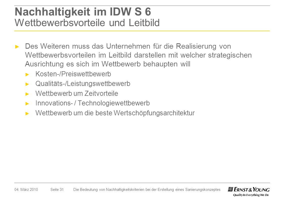 Nachhaltigkeit im IDW S 6 Wettbewerbsvorteile und Leitbild