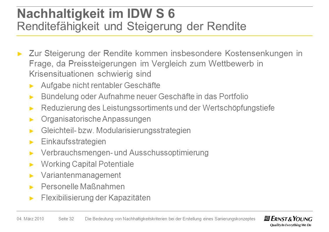 Nachhaltigkeit im IDW S 6 Renditefähigkeit und Steigerung der Rendite
