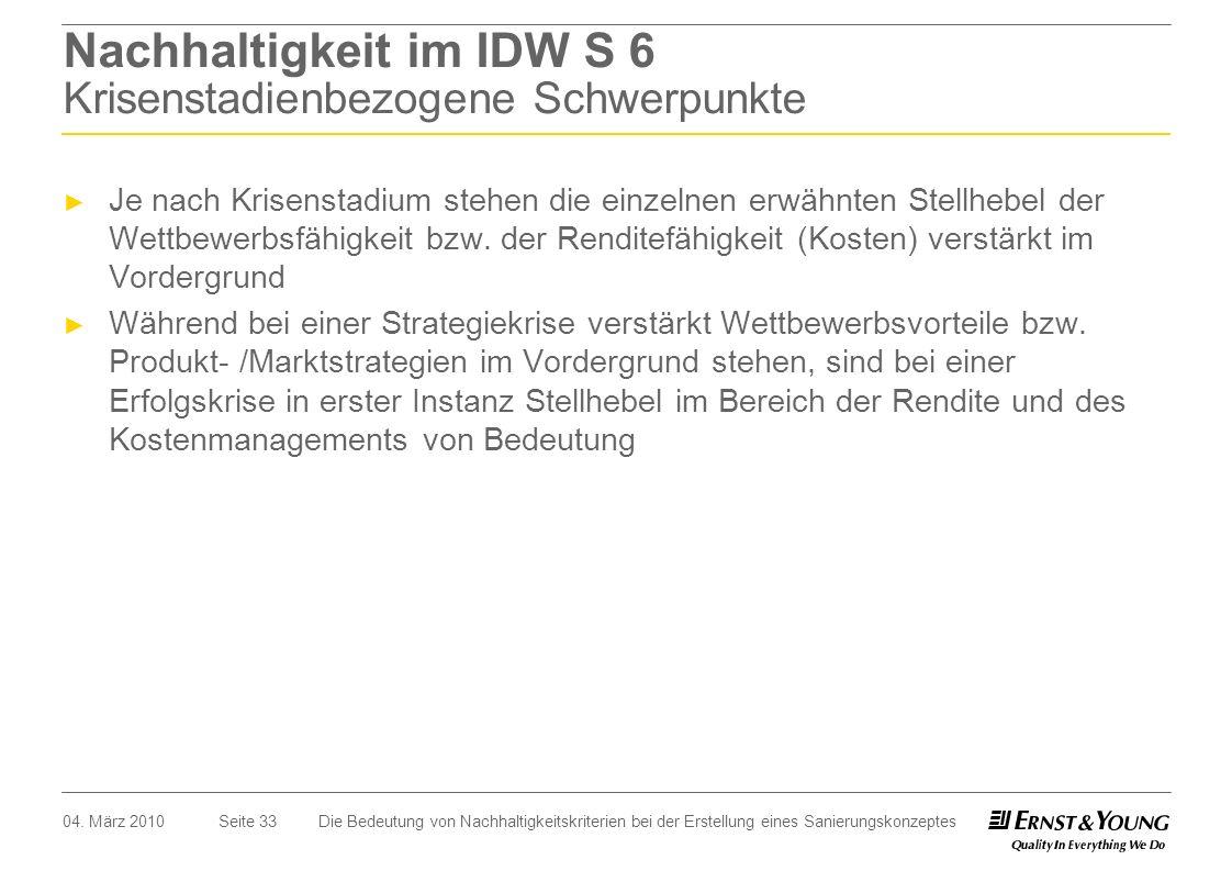 Nachhaltigkeit im IDW S 6 Krisenstadienbezogene Schwerpunkte