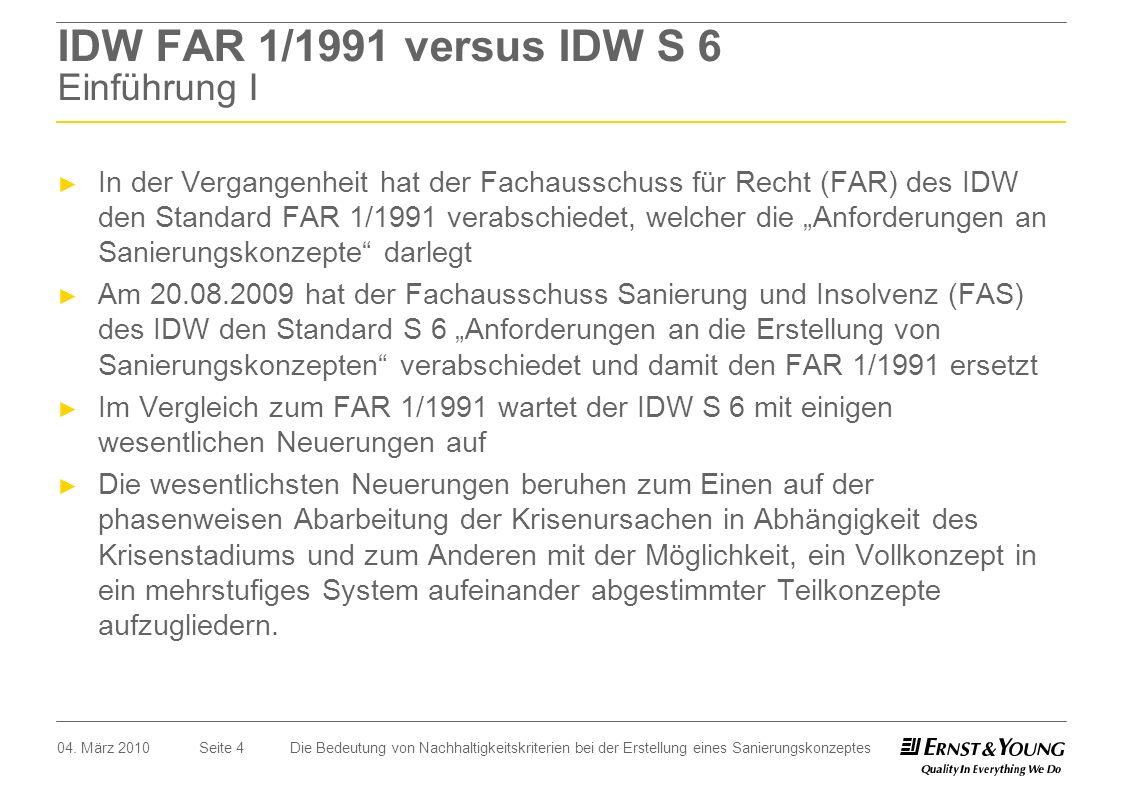 IDW FAR 1/1991 versus IDW S 6 Einführung I
