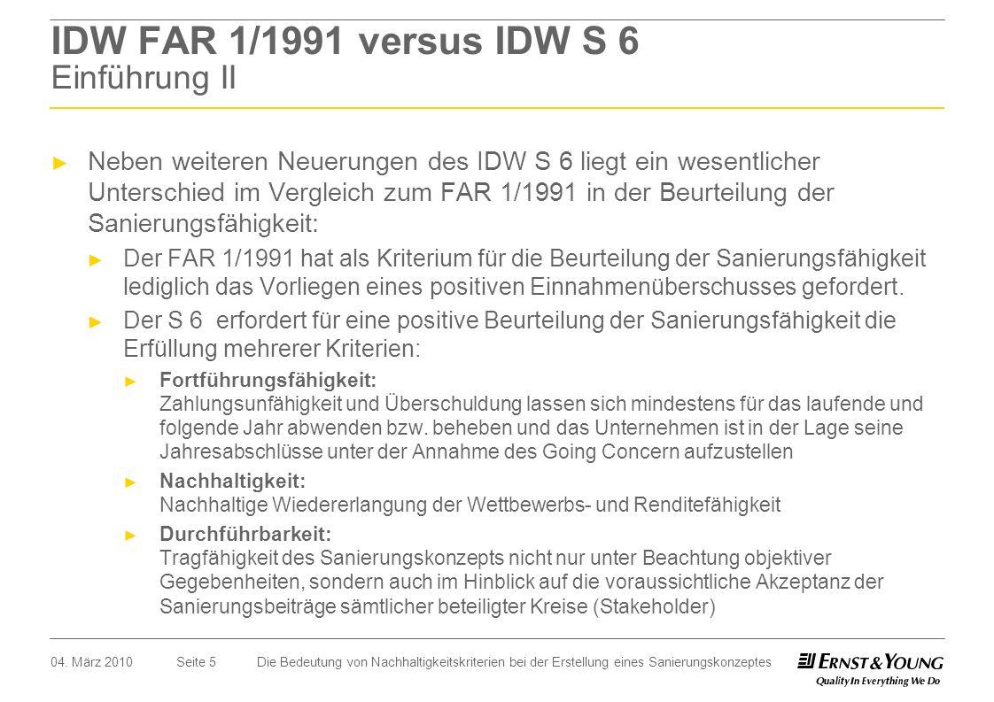 IDW FAR 1/1991 versus IDW S 6 Einführung II