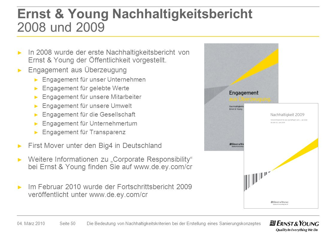 Ernst & Young Nachhaltigkeitsbericht 2008 und 2009
