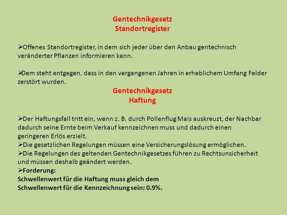 Gentechnikgesetz Standortregister Haftung
