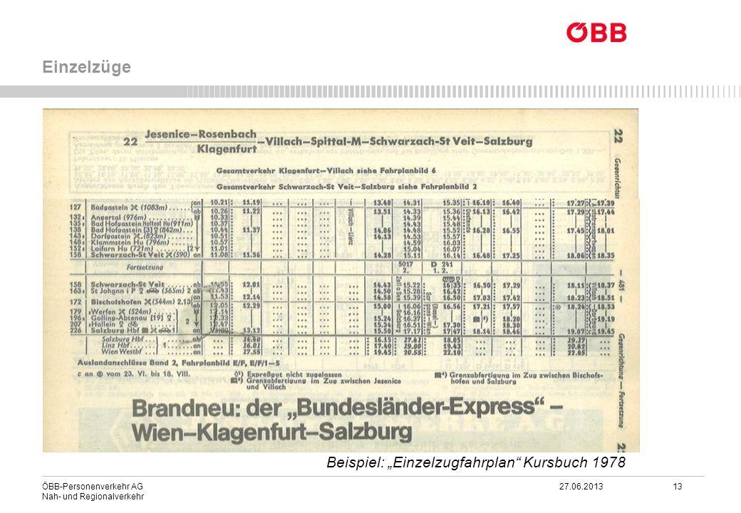"""Einzelzüge Beispiel: """"Einzelzugfahrplan Kursbuch 1978"""