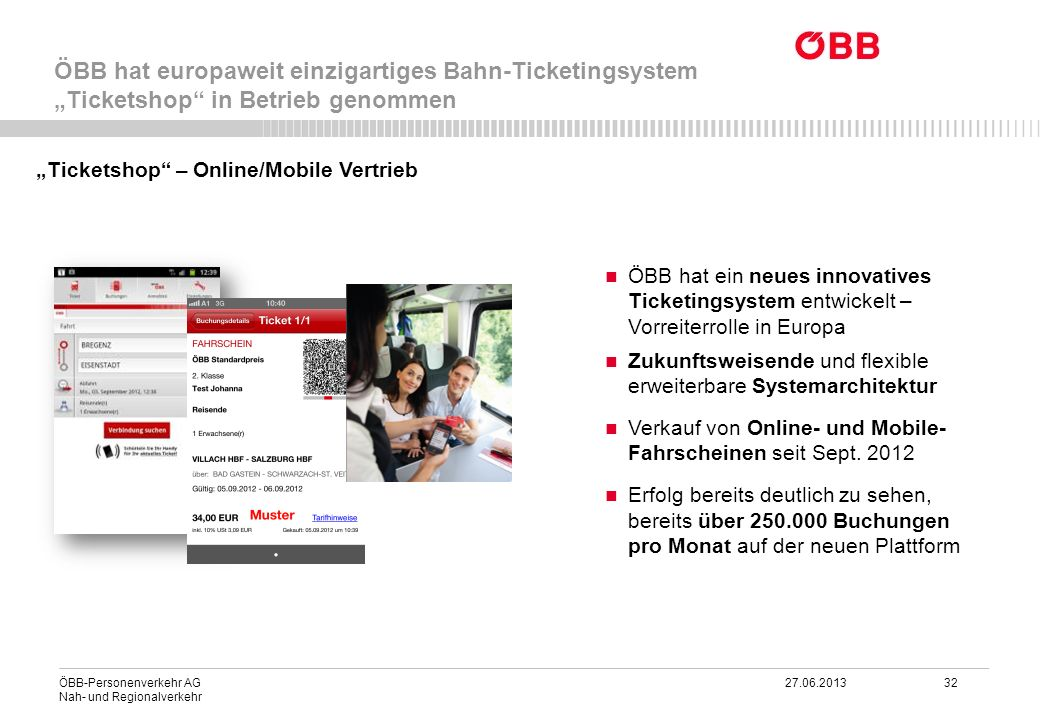 """ÖBB hat europaweit einzigartiges Bahn-Ticketingsystem """"Ticketshop in Betrieb genommen"""
