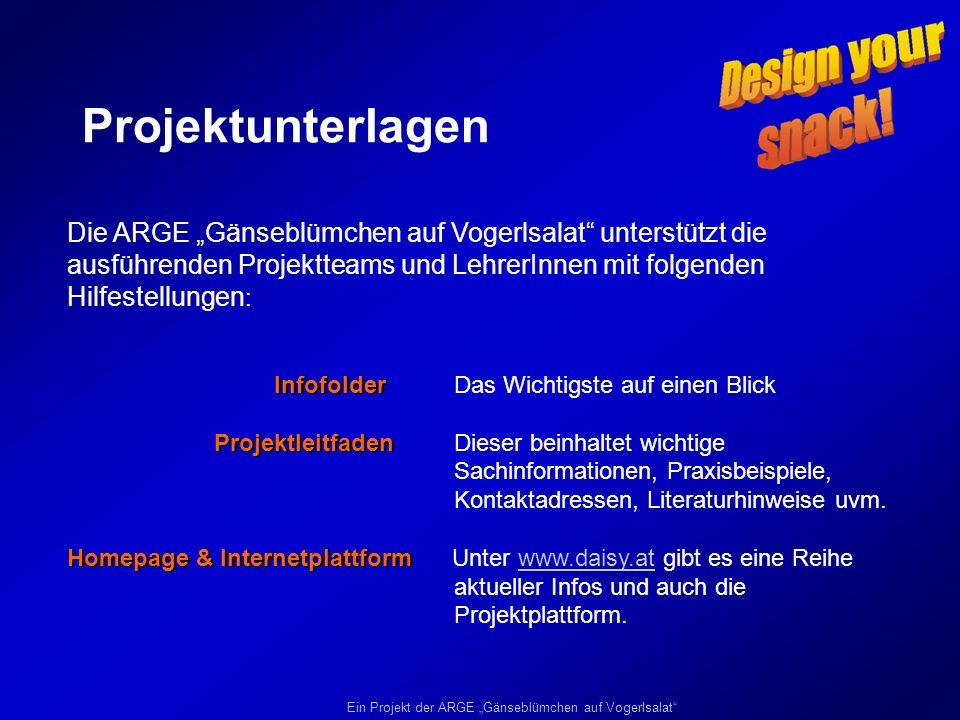 """Projektunterlagen Die ARGE """"Gänseblümchen auf Vogerlsalat unterstützt die ausführenden Projektteams und LehrerInnen mit folgenden Hilfestellungen:"""