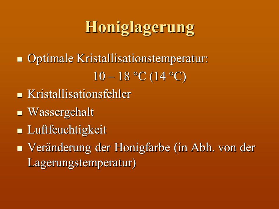 Honiglagerung Optimale Kristallisationstemperatur: 10 – 18 °C (14 °C)