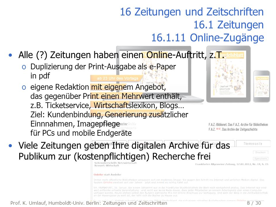 16 Zeitungen und Zeitschriften 16.1 Zeitungen 16.1.11 Online-Zugänge