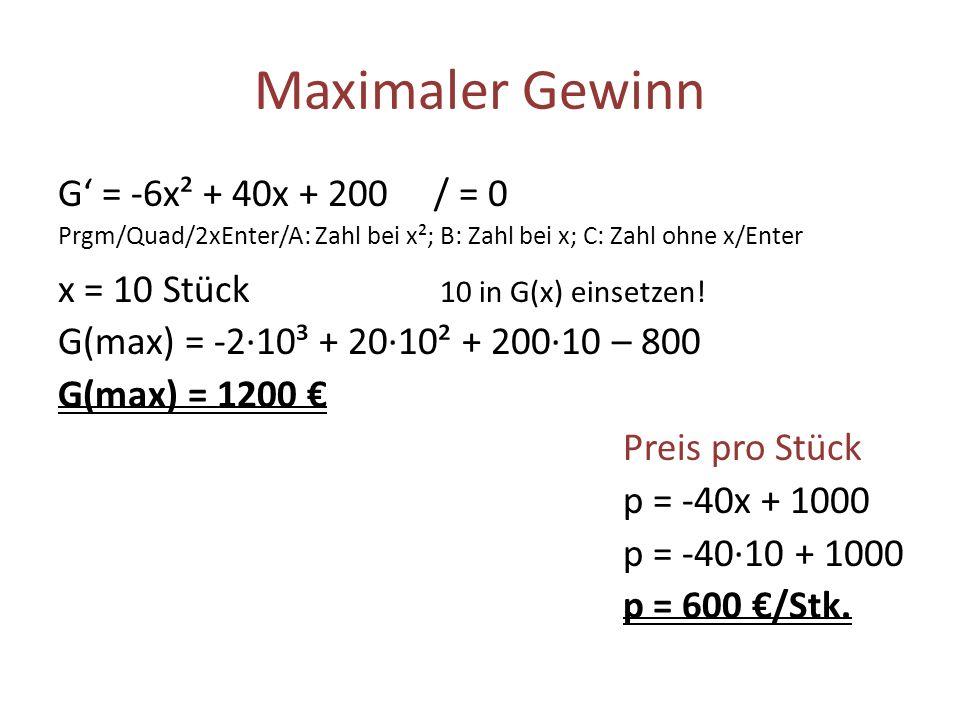 Maximaler Gewinn G' = -6x² + 40x + 200 / = 0