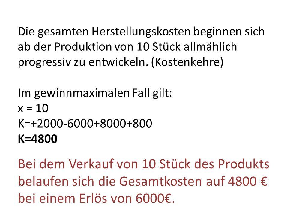 Die gesamten Herstellungskosten beginnen sich ab der Produktion von 10 Stück allmählich progressiv zu entwickeln. (Kostenkehre)