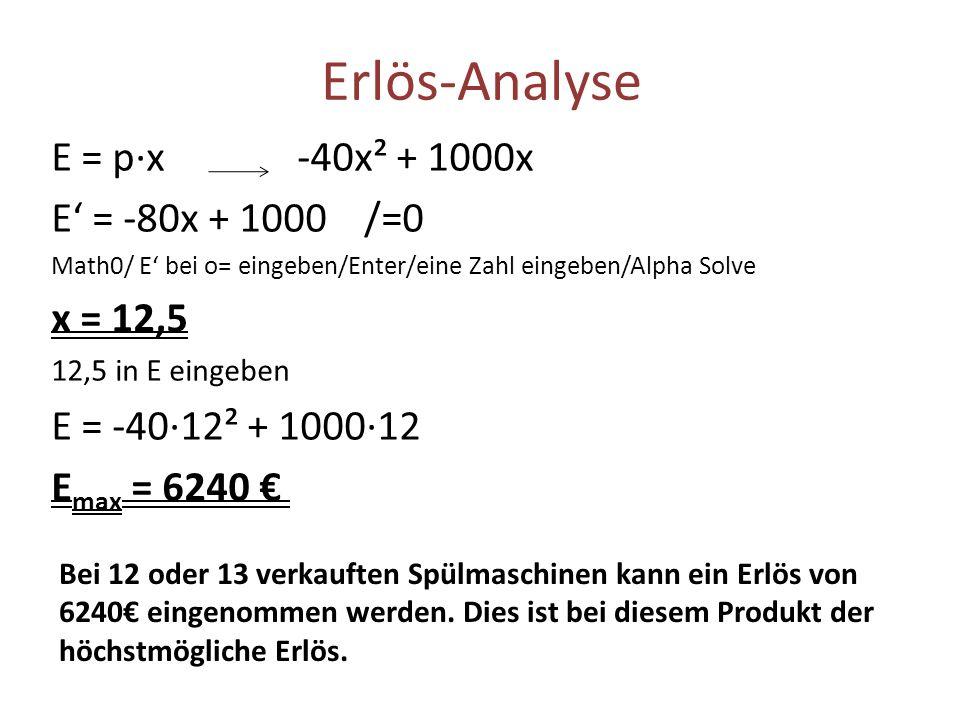 Erlös-Analyse E = p·x -40x² + 1000x E' = -80x + 1000 /=0 x = 12,5