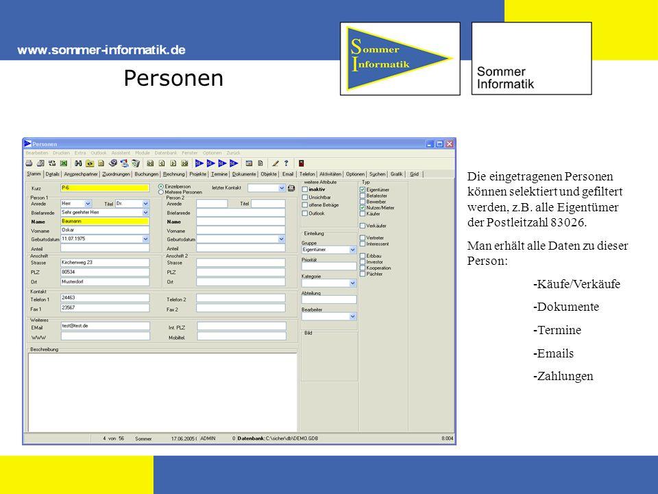 Personen Die eingetragenen Personen können selektiert und gefiltert werden, z.B. alle Eigentümer der Postleitzahl 83026.