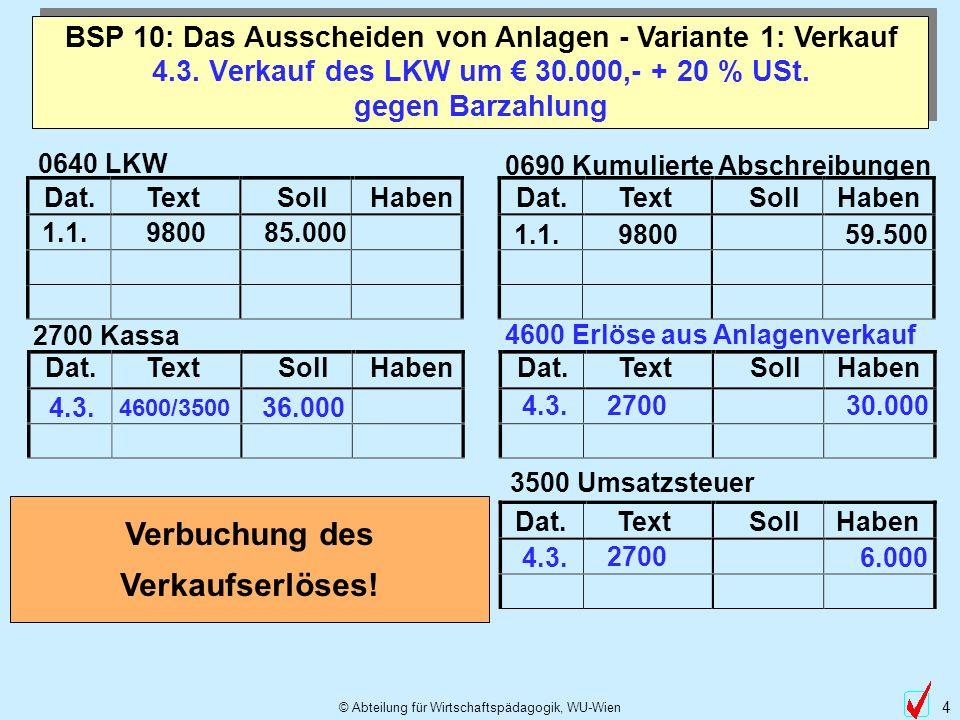 4.3. Verkauf des LKW um € 30.000,- + 20 % USt. gegen Barzahlung