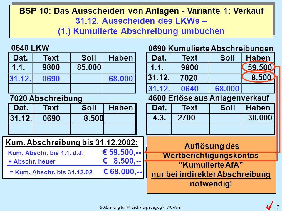 31.12. Ausscheiden des LKWs – (1.) Kumulierte Abschreibung umbuchen