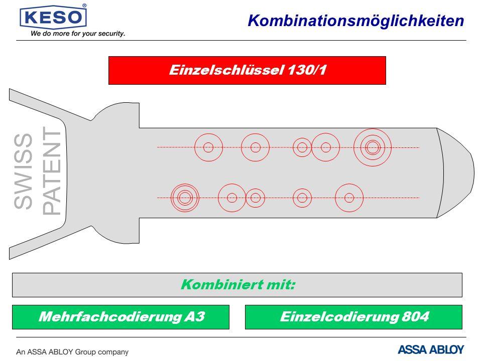 SWISS PATENT Kombinationsmöglichkeiten Einzelschlüssel 130/1