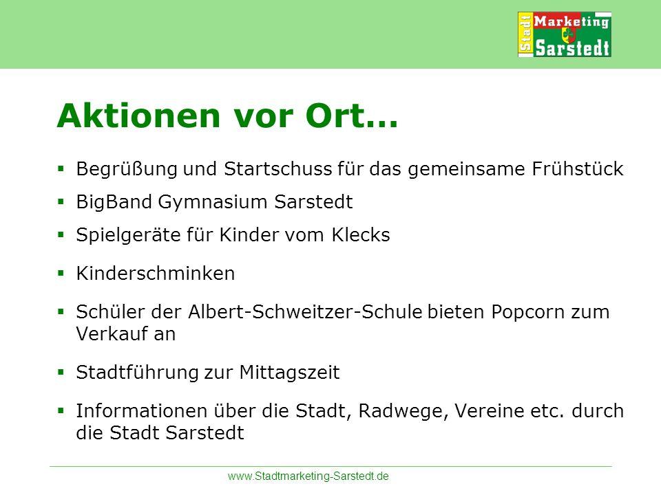 Aktionen vor Ort…Begrüßung und Startschuss für das gemeinsame Frühstück. BigBand Gymnasium Sarstedt.