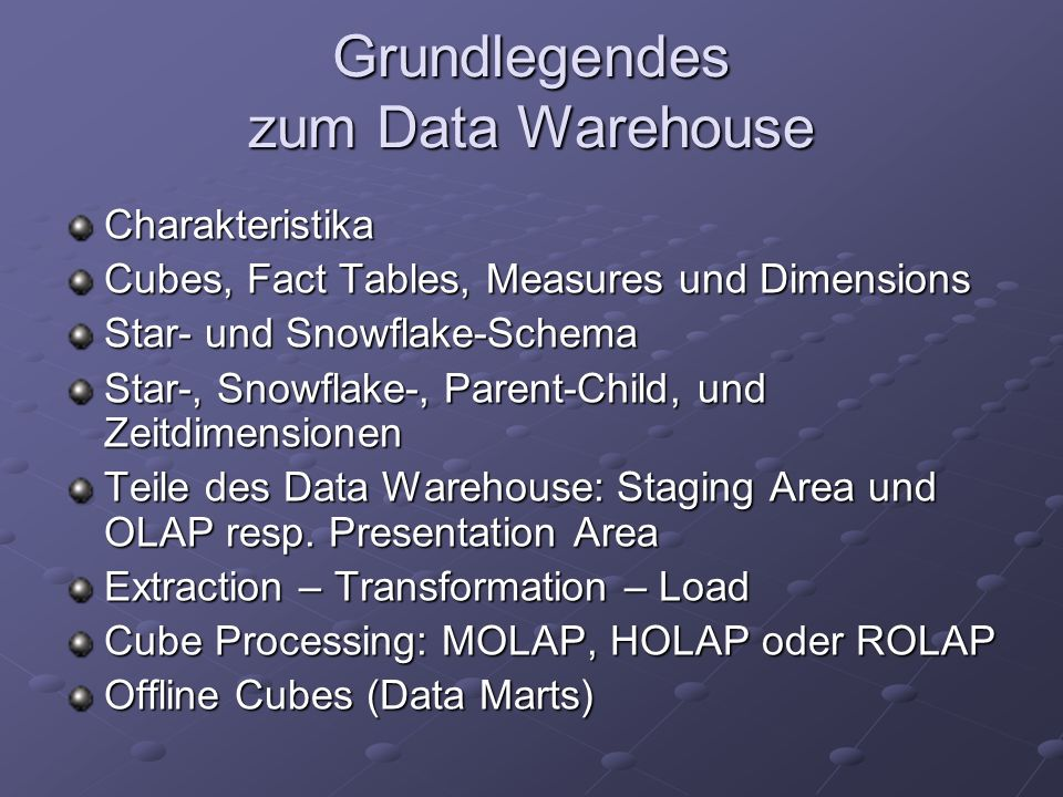 Grundlegendes zum Data Warehouse