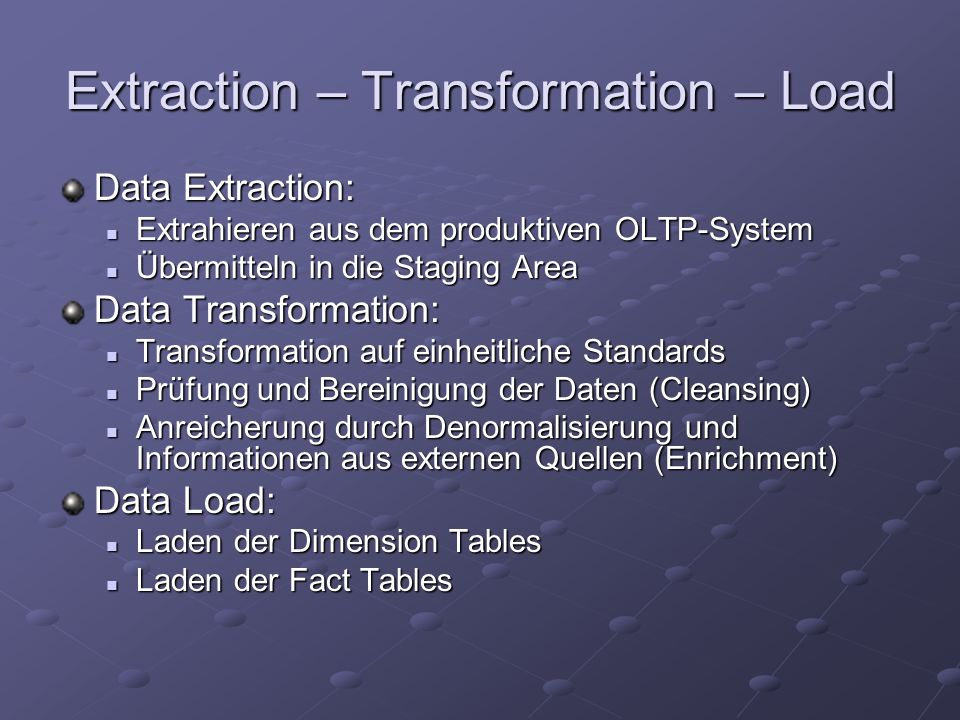 Extraction – Transformation – Load