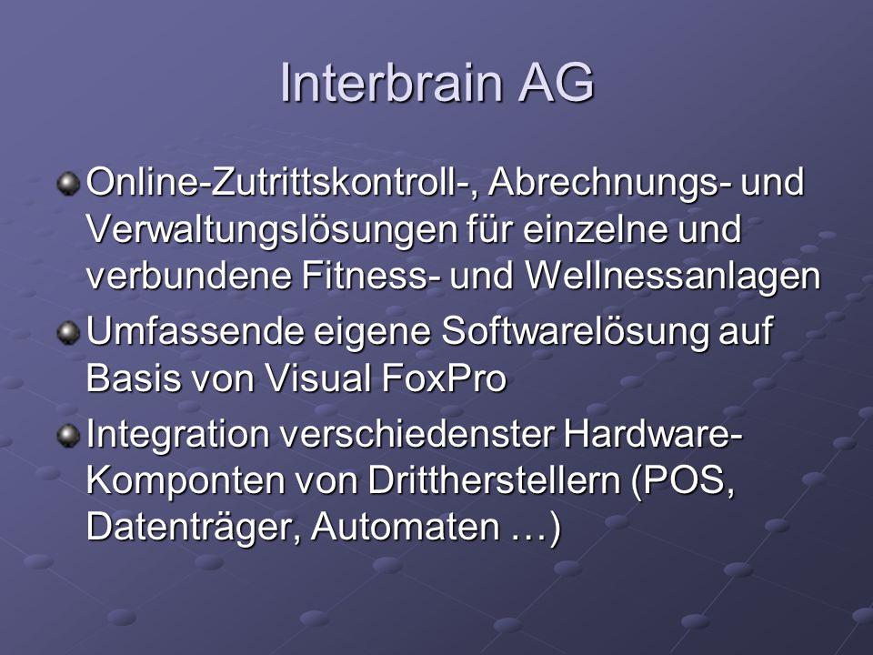 Interbrain AG Online-Zutrittskontroll-, Abrechnungs- und Verwaltungslösungen für einzelne und verbundene Fitness- und Wellnessanlagen.