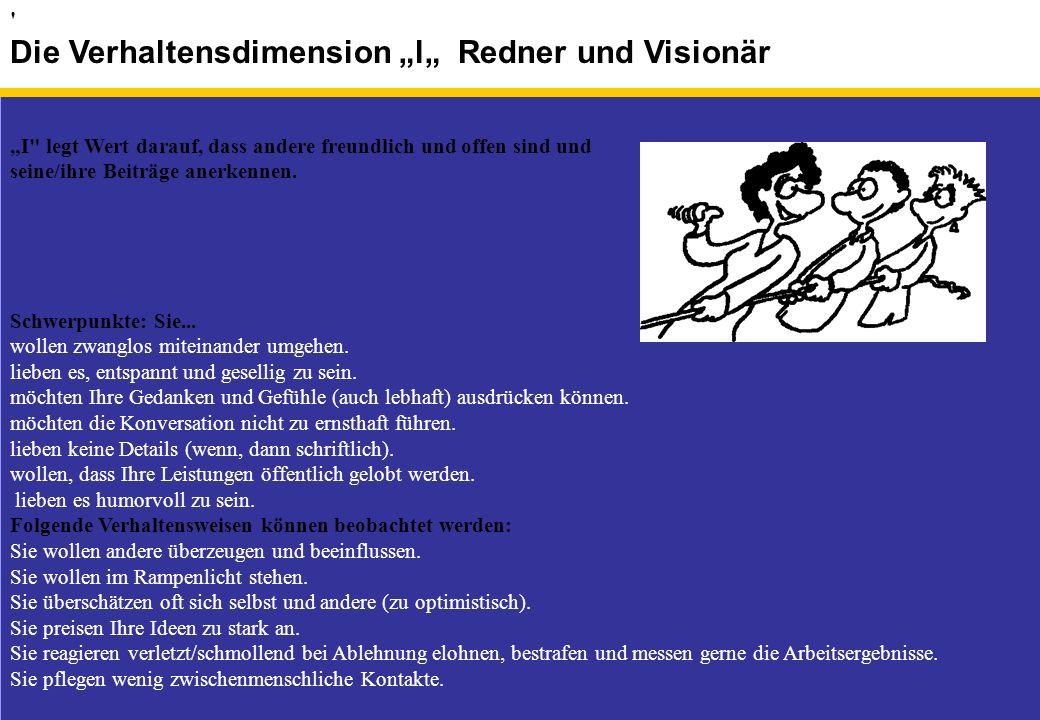 """Die Verhaltensdimension """"l"""" Redner und Visionär"""