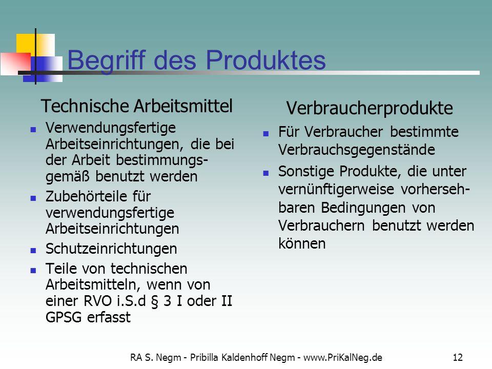 Begriff des Produktes Technische Arbeitsmittel Verbraucherprodukte