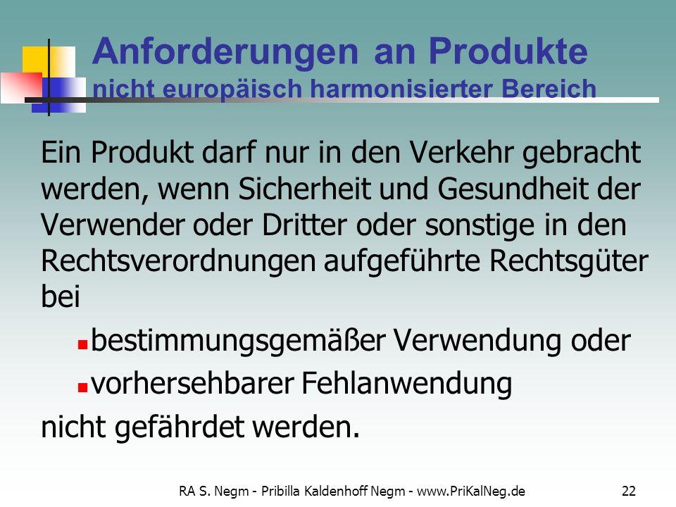 Anforderungen an Produkte nicht europäisch harmonisierter Bereich