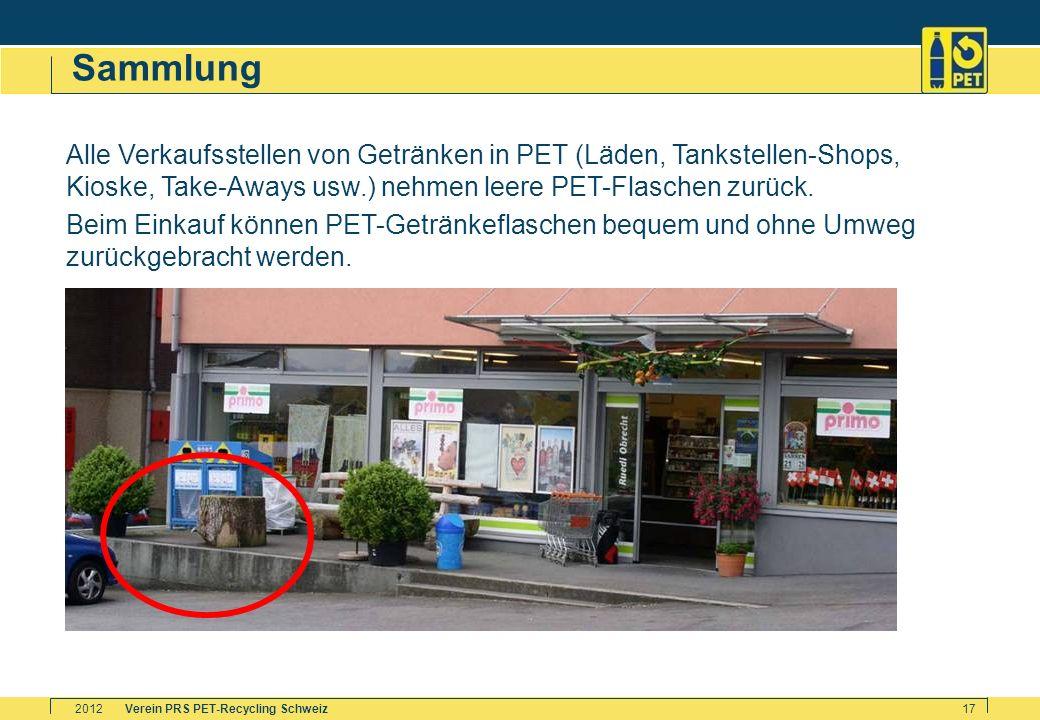 Sammlung Alle Verkaufsstellen von Getränken in PET (Läden, Tankstellen-Shops, Kioske, Take-Aways usw.) nehmen leere PET-Flaschen zurück.