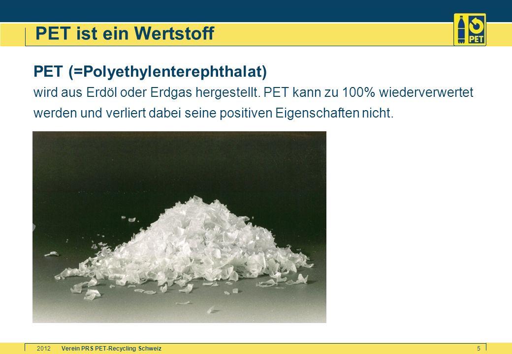 PET ist ein Wertstoff PET (=Polyethylenterephthalat)