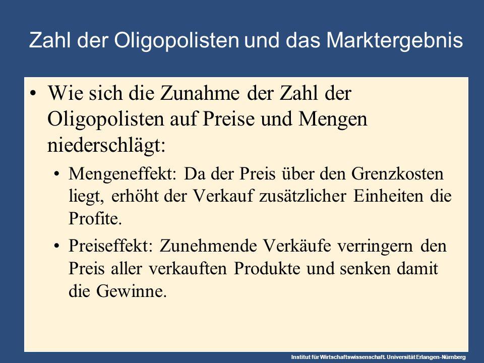Zahl der Oligopolisten und das Marktergebnis