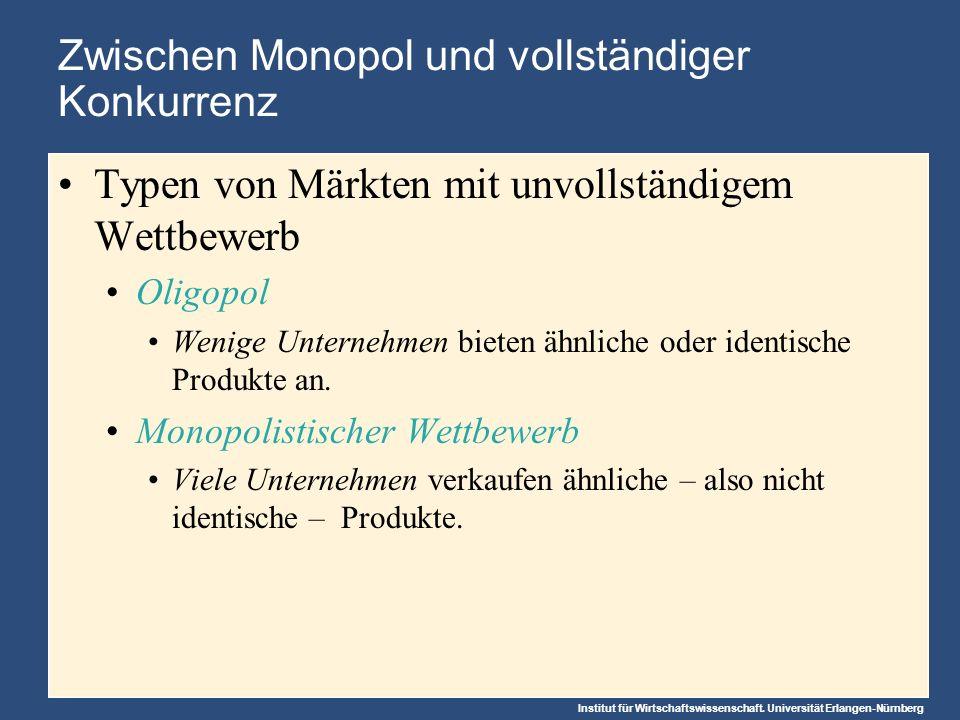 Zwischen Monopol und vollständiger Konkurrenz