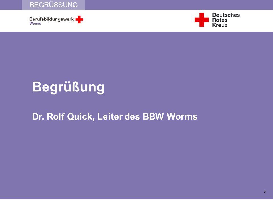 BEGRÜSSUNG Begrüßung Dr. Rolf Quick, Leiter des BBW Worms