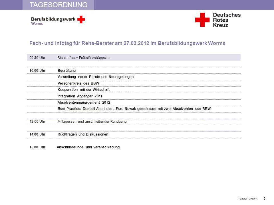 TAGESORDNUNG Fach- und Infotag für Reha-Berater am 27.03.2012 im Berufsbildungswerk Worms. 09.30 Uhr Stehkaffee + Frühstückshäppchen.