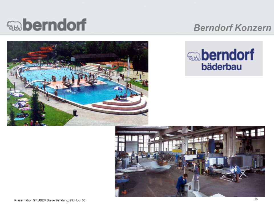 Berndorf Konzern Präsentation GRUBER Steuerberatung, 29. Nov. 05