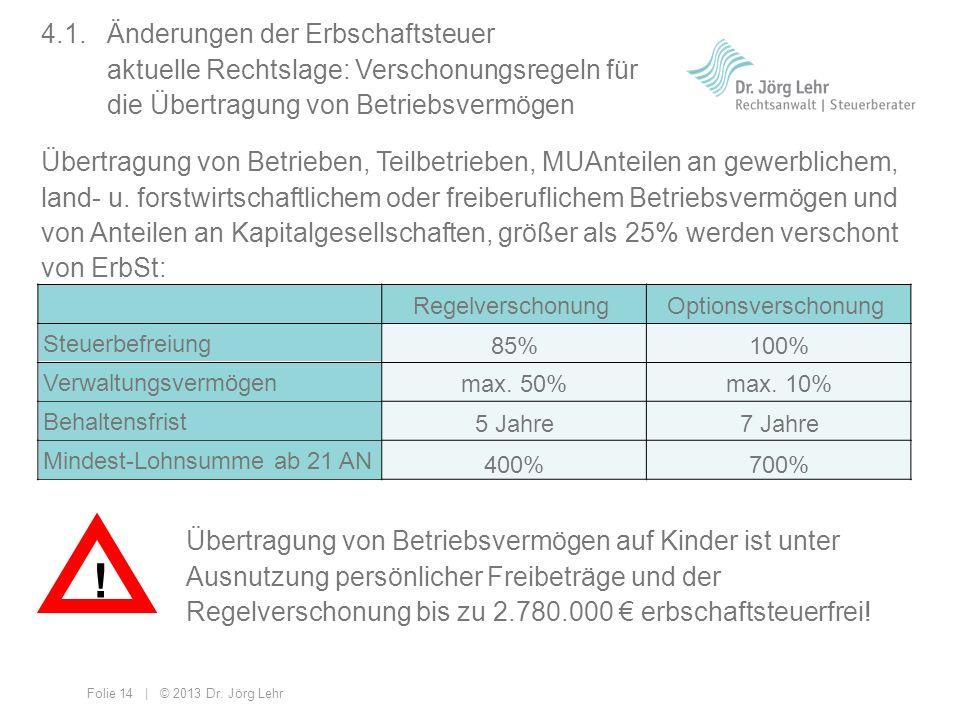 4. 1. Änderungen der Erbschaftsteuer