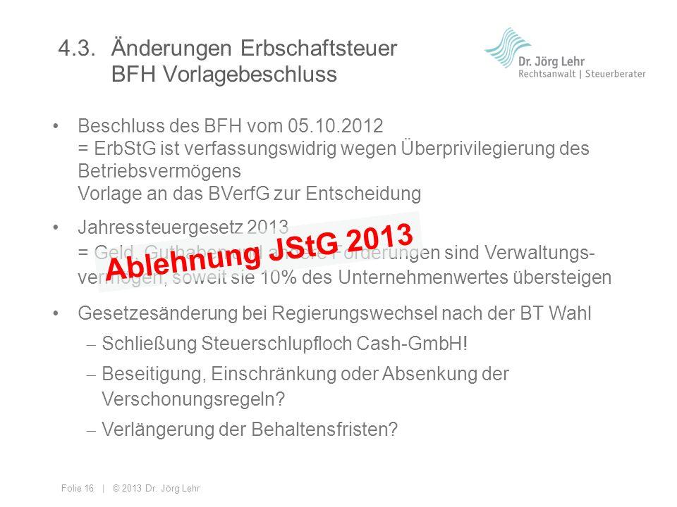4.3. Änderungen Erbschaftsteuer BFH Vorlagebeschluss