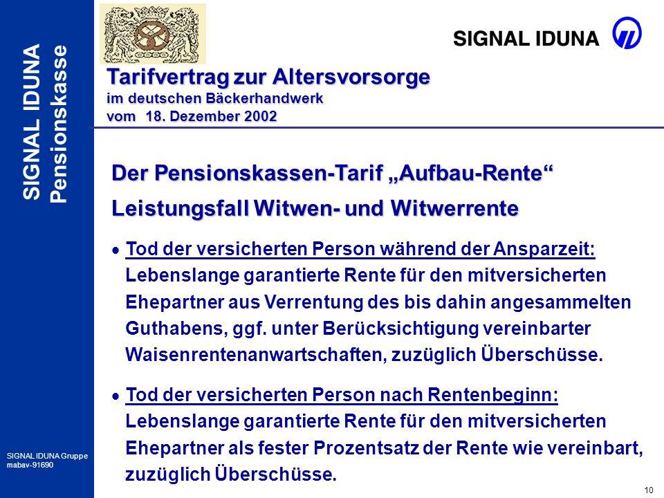 "Der Pensionskassen-Tarif ""Aufbau-Rente"