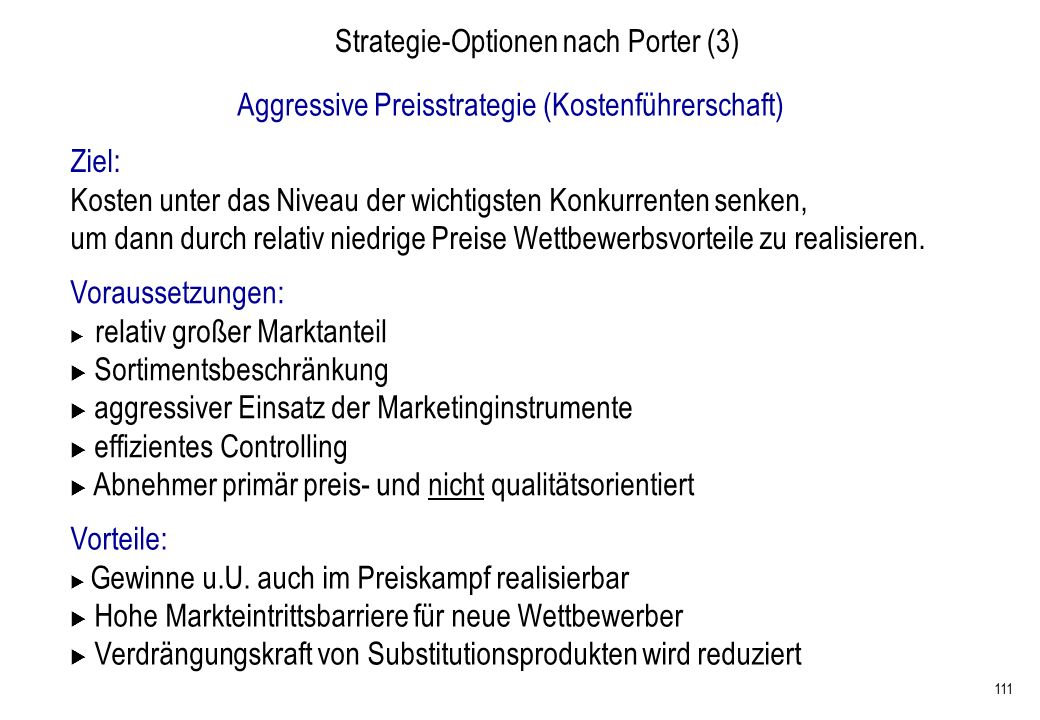 Strategie-Optionen nach Porter (3)